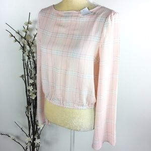 Rue 21 Pink Plaid Bell Sleeve Faux Wrap Crop Top